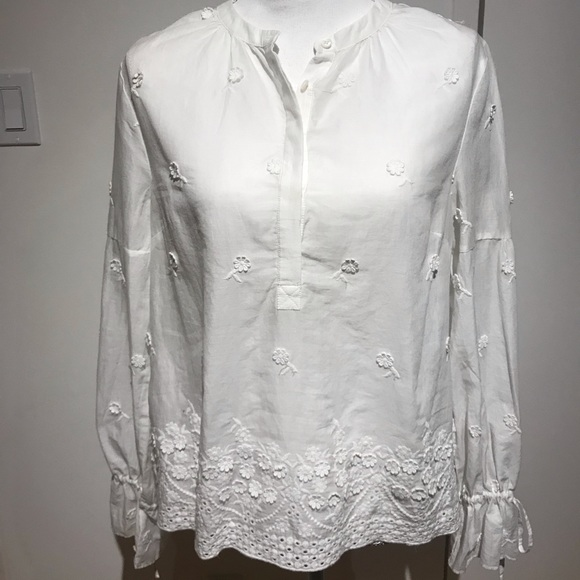 J. Crew Tops - J.Crew beautiful cotton embroidered blouse